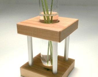 Bud Vase, Test Tube Vase, Small, Wood, Metal and Glass Modern Vase