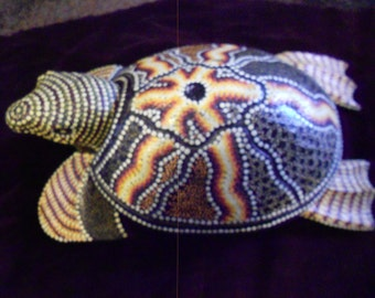 Ashtray/ Sea Turtle/ Hand Carved/ Painted Wood
