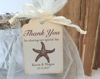 Starfish Favor Bags Organza Set Personalized Tags Set of 10 Beach Wedding Shower