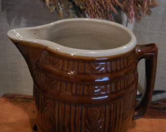 Vintage Stoneware Brown Pitcher With A White interior