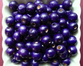 Violet Wooden Beads - Over 100 - 12mm Glossy Purple Wood Beads (WBD0075)