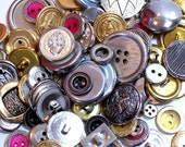 Goldtone and Silvertone Metal Mixed Buttons x 1/4 Pound Button Lot, Gold and Silver Buttons, New Old Stock