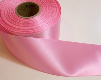 Wide Pink Ribbon, Bubble Gum Pink Single-Faced Satin Ribbon 2 1/4 inches wide x 10 yards