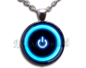 Computer Power Button Glass Dome Pendant or with Chain Link Necklace SM140