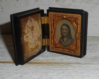 Daguerreotype photograph In a Beautiful Case Frame,1850's Circa Beautiful Antique Woman Photograph ,Beautiful Old Tintype Photo