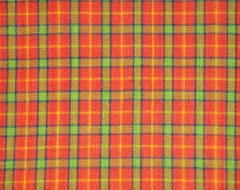 Cotton Homespun Material | Orange Plaid Material | Cotton Material | Quilt Material | Home Decor Material | Sold By The Yard