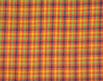 Cotton Homespun Material | Orange Check Material | Cotton Material | Quilt Material | Home Decor Material | Sold By The Yard