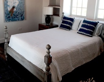 Queen 1830 Painted Cannonball Platform Bed -  Americana Beach Cottage Chic Painted Finish
