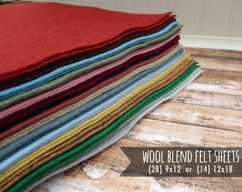 Wool Blend Sheets - Merino Wool - Coral Felt & Mint Felt, Wool Felt Flowers -  You Choose Size 28 - 9x12 or 14 - 12x18