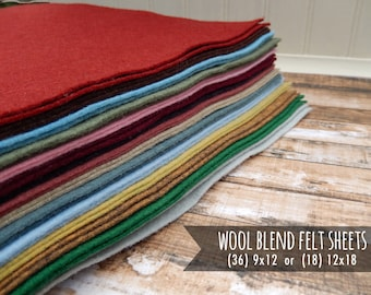 Wool Felt Sheets - You Choose Size 36 - 9x12 or 18 - 12x18