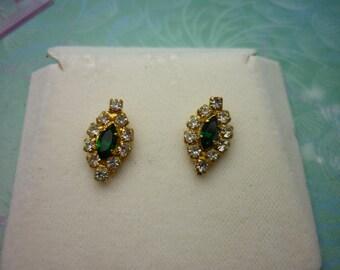 Vintage Crystal Earrings - Green Crystals