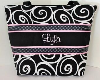 Personalized Diaper Bag . personalized Tote Bag . Ebony Ironwork & Pink . Weekender / XL Tote size . monogrammed FREE . girl diaper bag