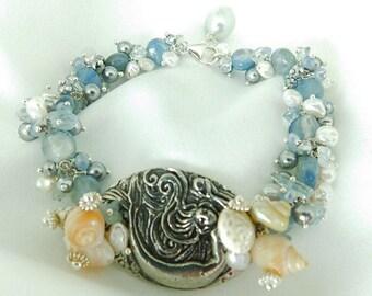 Mermaid - Mermaid Jewelry - Mermaid Bracelet - Gem Bracelet - Blue Bracelet