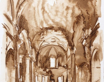 Architectural Ink Drawing - Rome - 5x7 -  by Michelle Arnold Paine