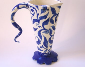 Delft Blue whimsical pottery Pitcher or Vase hand-painted delphinium blue floral design indigo Dutch ceramic collection