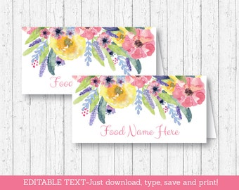 Floral Buffet Cards / Food Labels / Place Cards / Floral Baby Shower / Watercolor Flowers / Baby Girl / INSTANT DOWNLOAD Editable PDF