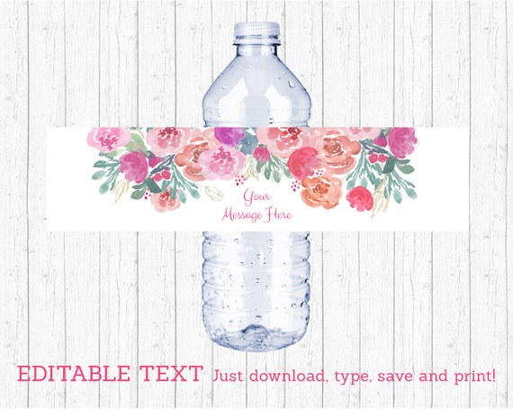 Pink Floral Water Bottle Labels Water Bottle Wraps