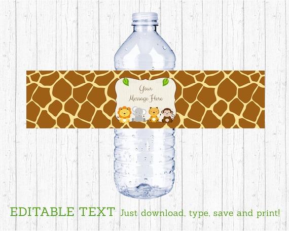 Cute Jungle Safari Animals Water Bottle Labels Printable