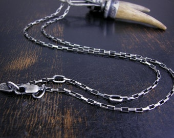 Long box chain made to order sterling silver 1.7mm soldered jump rings and lobster claw clasp antique rustic finish with extender links