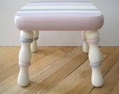 Hand Painted Wooden Step Stool Pink Gray Cream Striped