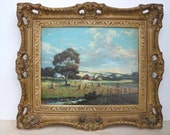 Copr. C Moss 1947 Lithograph Farm Scene Picture with Ornate Frame Shabby Chic