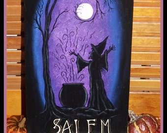 """Hand Painted 14 x 6"""" Wooden Halloween Witch Plaque - Mixed Media - Decorative Painting - Black Silhouette - Salem - OFG - HAGUILD - HDM"""