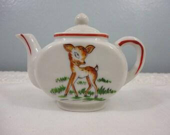 Vintage Child's Toy Teapot - Japan - Fawn Deer - Porcelain