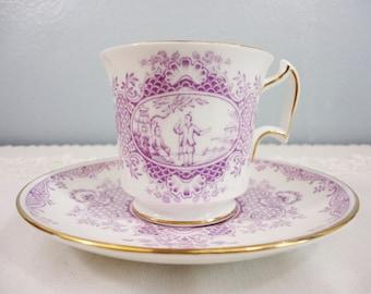 Royal Chelsea Oriental Purple Transferware Cup & Saucer - English Bone China - Chinoisserie Style Design