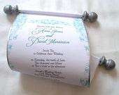 Romantic rococo wedding invitation scroll in blue and silver, bridal shower invitation, set of 10