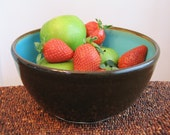 Pottery Bowl  in Dark Chocolate / Turquoise Blue - Stoneware Ceramic Serving Bowl