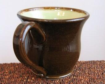 Large Coffee Mug or Pottery Beer Stein  Huge Mug Handmade Stoneware Ceramic Cup 20 oz Chocolate Pear