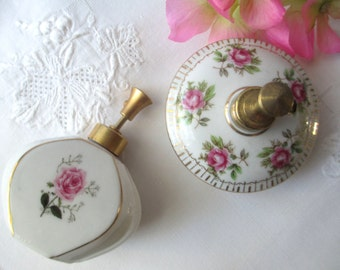 Vintage I Rice and DeVilbiss Porcelain Floral Perfume Atomizer Pair, Pink Atomizer, Floral Perfume Bottle