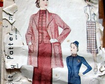Vintage Sewing Pattern 1930s Womens Dress Pattern 3 Piece Suit With 2 Jacket Styles Simplicity 2745 Sz 14
