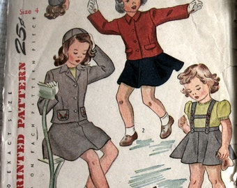 Vintage Sewing Pattern 1940s Girls Jumper Jacket And Hat Pattern With Embroidery Transfer Sz 4 Uncut