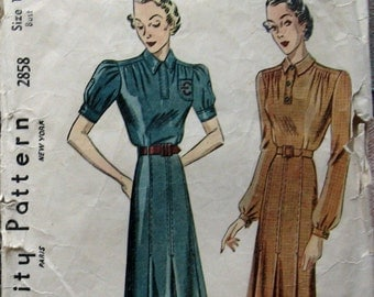 1930s Vintage Womens Dress Pattern With Saddle Stitch Trim Simplicity 2858 Sz18