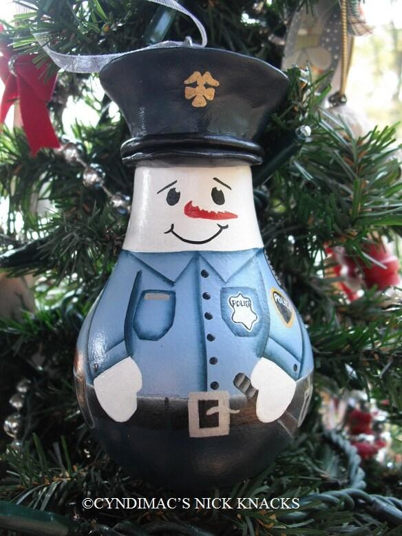 Snowman Cop Lightbulb Ornament Handpainted By