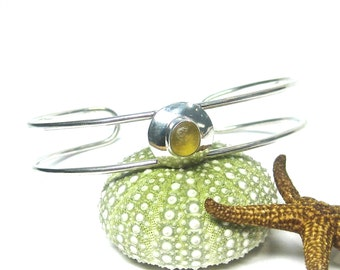 Yellow Sea Glass and Sterling Silver Double Cuff Bracelet | Sea Glass Bracelet | Women's Jewelry | Sterling Silver | Seaglass Bracelet