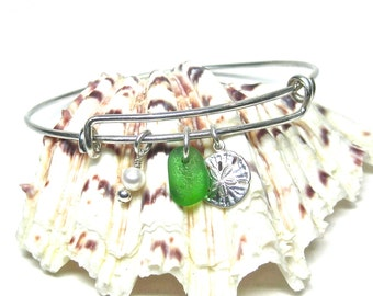 Green Adjustable Sea Glass Bangle Bracelet | Beach Glass Bracelet | Adjustable Sterling Silver Bangle | Bangle Bracelet | Sand Dollar