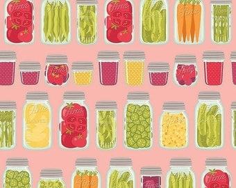 25% OFF Farm Girl Mason Jars Pink - 1/2 Yard