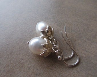 Lotus Pearl Silver Earrings, Bead Cap, Sterling Silver, White, Drop, Freshwater Pearl, Irisjewelrydesign