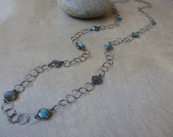 Long Labradorite Necklace, Station Necklace, Quatrefoil, Sterling Silver Silver, Black, Oxidized, Circle, Long Chain, Irisjewelrydesign