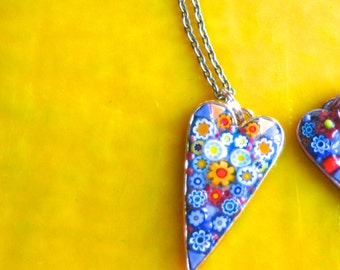 Necklace. Pendant. Mosaic Necklace. Mosaic Pendant. Millefiori Necklace. Millefiori Pendant. Heart Pendant. Heart Necklace. 24 inch Chain.