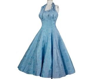 SALE Vintage 50s Dress - 50s Halter Dress - 50s Party Dress - 50s Full Skirt Dress - 50s Strapless Dress - Blue Silver  Atomic Novelty Print