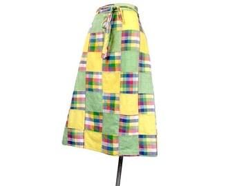SALE Vintage 70s Skirt - 70s Wraparound Skirt - Madras - Wraparound Skirt - Madras Plaid - India - Patchwork Skirt - Patchwork Madras - Plai