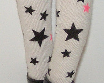 White Tights With Black And Pink Stars For Blythe...One Pair Per Listing...