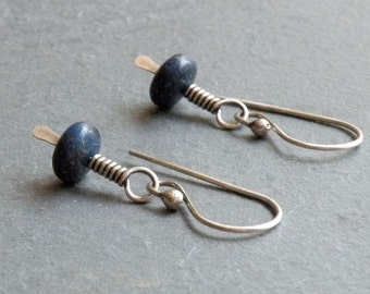 Lapis Lazuli Earrings, Lapis Earrings, Lapis Lazuli Gemstone Dangle, Sterling Silver, Dark Blue Gemstone Earrings, Wire Wrapped, #4659