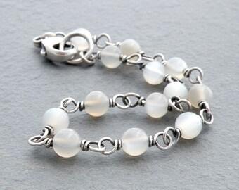 White Moonstone Bracelet, Sterling Silver Wire Wrap, Layering Bracelet, Gemstone Bracelet, June Birthstone, Stacking Bracelet, #4688
