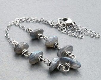 Labradorite Necklace, Blue Flash Labradorite, Gray Green Labradorite Necklace, Wire Wrapped, Sterling Silver, #4653