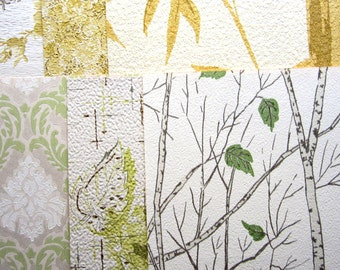 VINTAGE WALLPAPER 6 Sheets 8 x 10  1950/60s Yellowy-Greens and Yellowy-Golds
