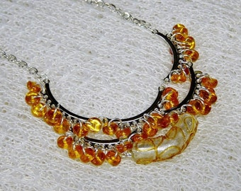 Amber Beaded Silver Crescent Linked Bib Style Necklace,Lamp Work Glass Tube Beaded Necklace,Amber Glass Beaded Statement Necklace
